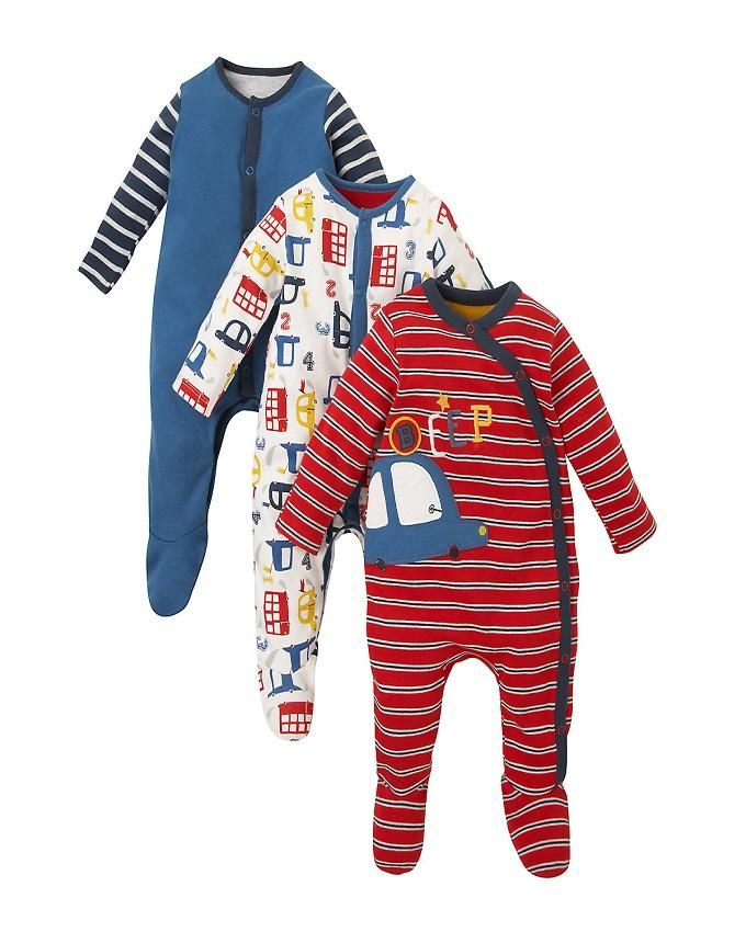 Mothercare Little Car 3 Pack Premium Baby Sleepsuits