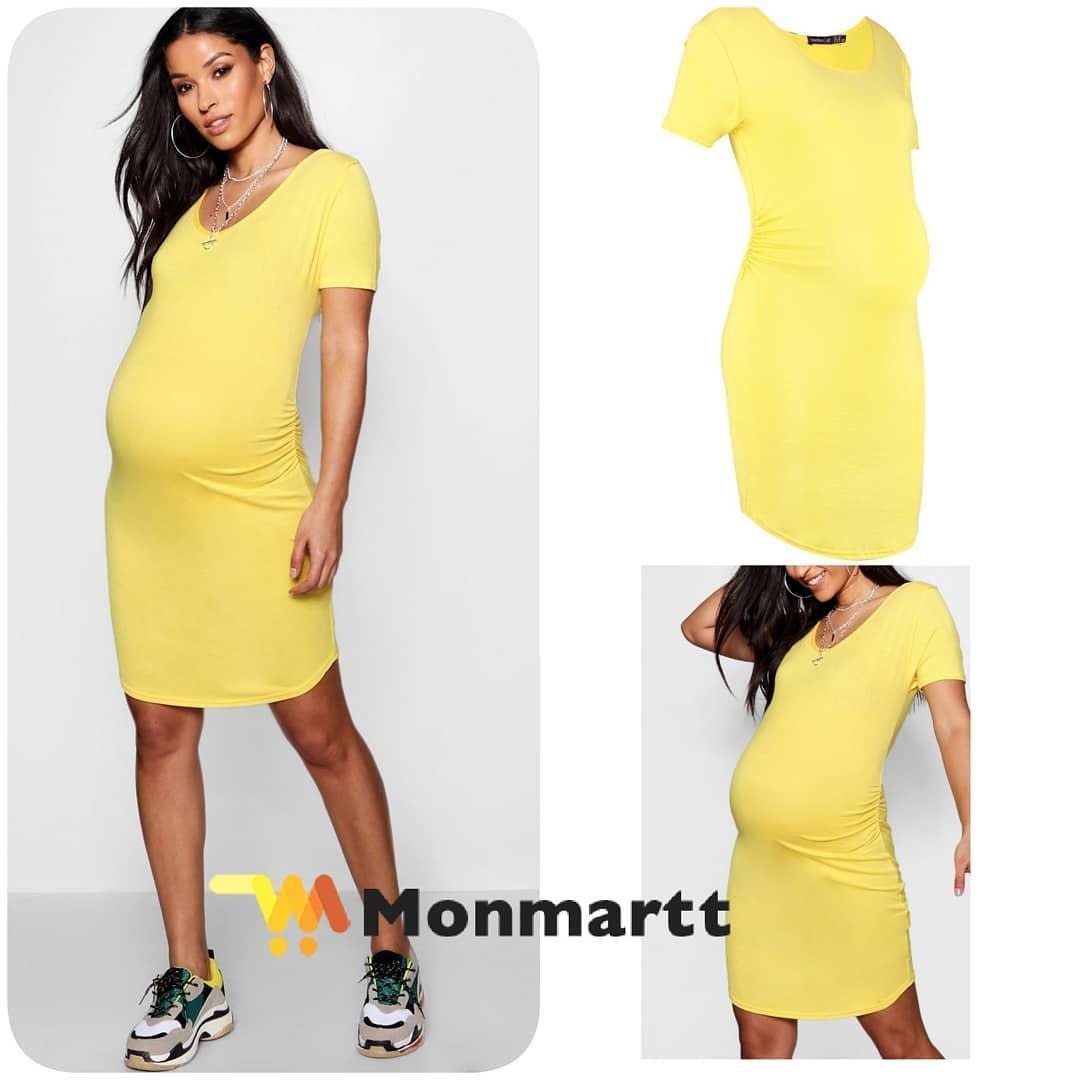 c645547f96fdf Maternity Maternity Short Sleeve Bodycon Dress